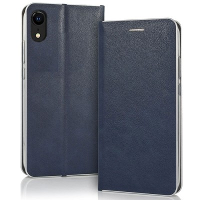 CUSTODIA per APPLE IPHONE XR (6.1') - FLIP ORIZZONTALE CON CHIUSURA MAGNETICA INVISIBILE, INTERNO IN TPU BLU BORDO SILVER