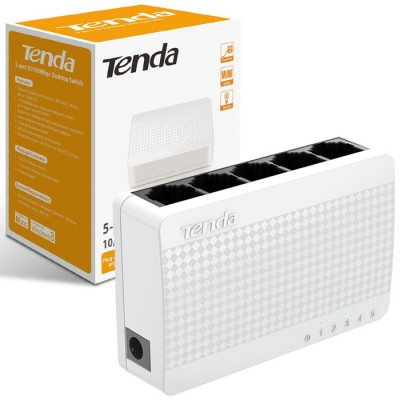 MINI SWITCH 5 PORTE FAST ETHERNET 10/100 Mbps CON VELOCITA' FULL DUPLEX FINO A 200Mbps COLORE BIANCO TENDA BLISTER