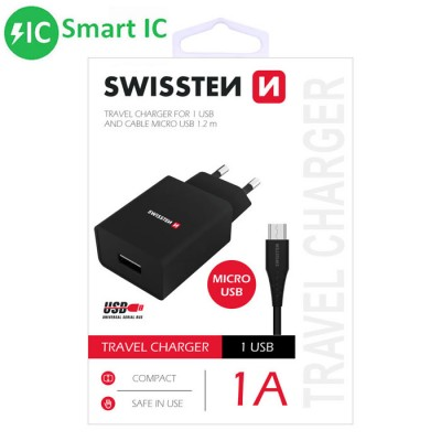 TRAVEL CASA USB 1000mAh + CAVO MICRO USB LUNGHEZZA 1,2MT CON SMART IC COLORE NERO SWISSTEN BLISTER