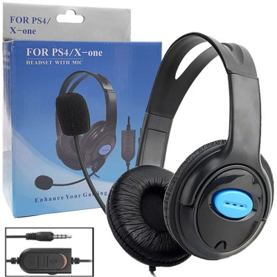 CUFFIA STEREO GAMING PER PLAYSTATION 4 CON MICROFONO FLESSIBILE, INTERRUTTORE MUTE E REGOLATORE VOLUME COLORE NERO BLISTER