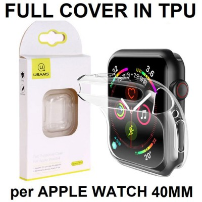 CUSTODIA per APPLE WATCH 40MM (SERIE 4 e SERIE 5) COPERTURA TOTALE IN GEL TPU SILICONE TRASPARENTE USAMS BLISTER