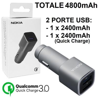 CAVO AUTO USB ORIGINALE NOKIA (TOT.4800mAh) CON 1 PORTA USB 2400mAh + 1 PORTA USB 2400mAh (QUICK CHARGE 3.0) COLORE SILVER