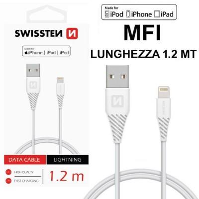 CAVO USB LIGHTNING per APPLE IPHONE 11, IPHONE 11 PRO, IPHONE 11 PRO MAX CERTIFICATO MFI LUNGHEZZA 1.2MT COLORE BIANCO SWISSTEN