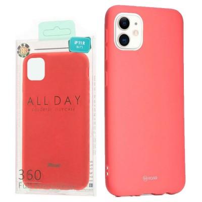 CUSTODIA per APPLE IPHONE 11 (6.1') IN GEL TPU SILICONE COLORE ROSA PESCA ALTA QUALITA' ROAR COLORFUL BLISTER
