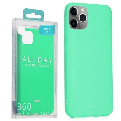 CUSTODIA per APPLE IPHONE 11 PRO (5.8') IN GEL TPU SILICONE COLORE VERDE ACQUA ALTA QUALITA' ROAR COLORFUL BLISTER