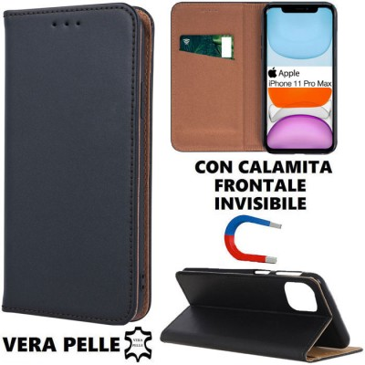 CUSTODIA per APPLE IPHONE 11 PRO MAX (6.5') - FLIP ORIZZONTALE VERA PELLE CON CHIUSURA MAGNETICA INVISIBILE E INTERNO IN TPU NER