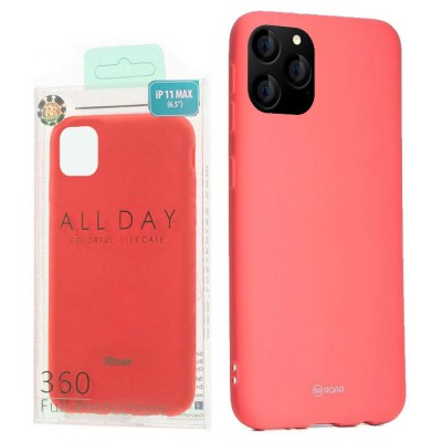 CUSTODIA per APPLE IPHONE 11 PRO MAX (6.5') IN GEL TPU SILICONE COLORE ROSA PESCA ALTA QUALITA' ROAR COLORFUL BLISTER