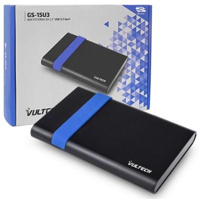 BOX ESTERNO 2.5' HDD SATA USB 3.2 GS-15U3 PER HARD DISK CON CAPACITA' FINO A 2TB E SLOT SCORREVOLE COLORE NERO E BLU VULTECH