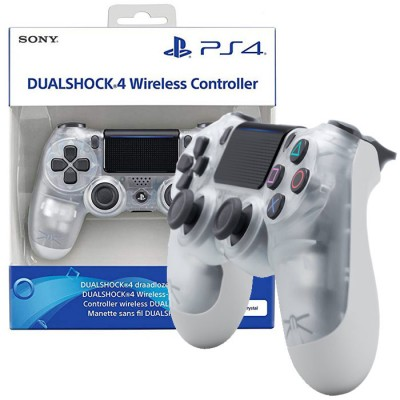 JOYSTICK WIRELESS DUAL SHOCK ORIGINALE CUH-ZCT2E per SONY PLAYSTATION 4 VERSIONE V.2 TRASPARENTE CON RETRO BIANCO BLISTER