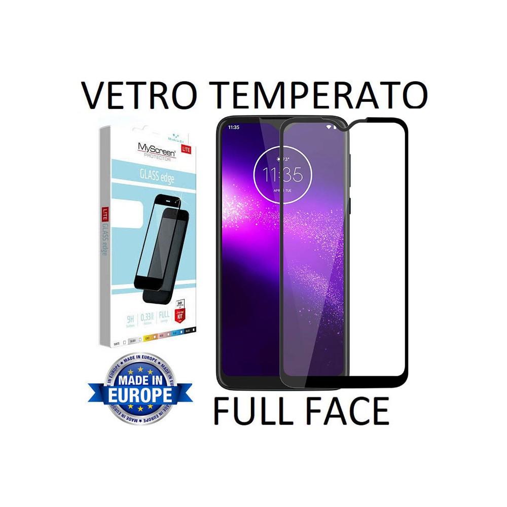 PELLICOLA per MOTOROLA ONE MACRO, MOTO G8 PLAY - VETRO TEMPERATO FULL FACE 9H 0,33mm CON CORNICE NERA MYSCREEN LITE