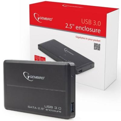 BOX ESTERNO 2.5' HDD SATA USB 3.0 EE2-U3S-2 PER HARD DISK CON CORPO IN ALLUMINIO COLORE NERO GEMBIRD BLISTER