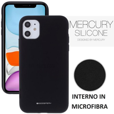 CUSTODIA per APPLE IPHONE 11 (6.1') IN SILICONE SOFT TOUCH CON INTERNO IN MICROFIBRA COLORE NERO ALTA QUALITA' MERCURY BLISTER