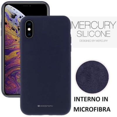 CUSTODIA per APPLE IPHONE XS MAX (6.5') IN SILICONE SOFT TOUCH CON INTERNO IN MICROFIBRA BLU ALTA QUALITA' MERCURY