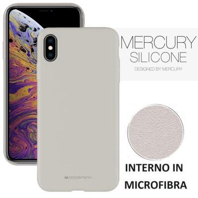 CUSTODIA per APPLE IPHONE XS MAX (6.5') IN SILICONE SOFT TOUCH CON INTERNO IN MICROFIBRA GRIGIO ALTA QUALITA' MERCURY