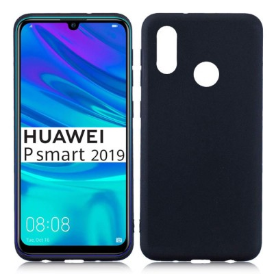 CUSTODIA per HUAWEI P SMART 2019, HONOR 10 LITE IN GEL TPU SILICONE SLIM COLORE NERO SATINATO