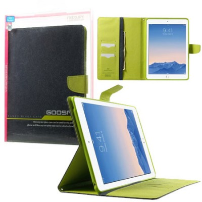 CUSTODIA BOOK ORIZZONTALE per APPLE IPAD AIR 2 CON INTERNO IN TPU, STAND E PORTA CARTE COLORE BLU ALTA QUALITA' FANCY DIARY