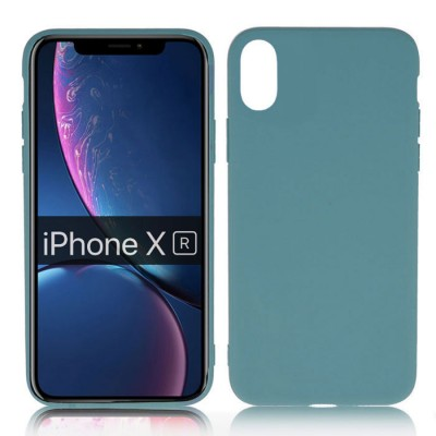 CUSTODIA per APPLE IPHONE XR (6.1') IN GEL TPU SILICONE SLIM COLORE PETROLIO SATINATO