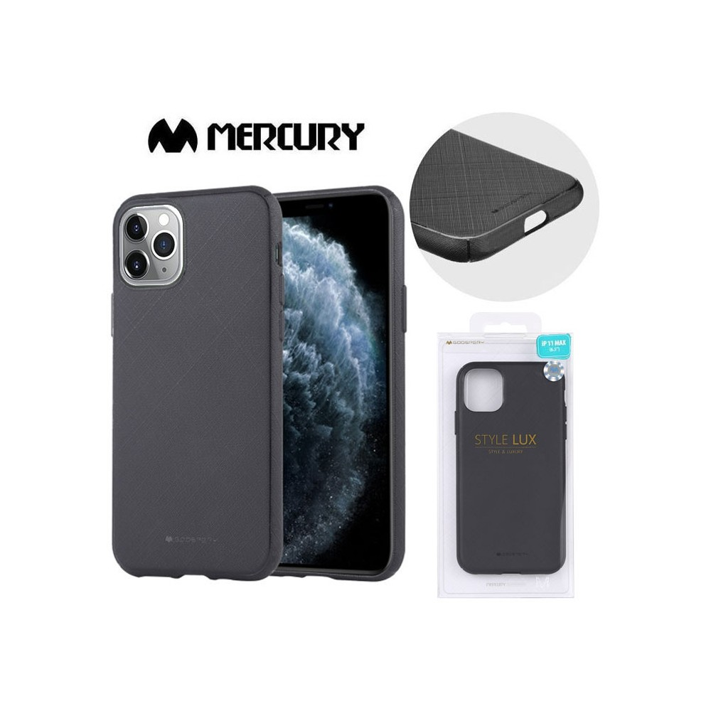 CUSTODIA per APPLE IPHONE 11 PRO MAX (6.5') IN GEL TPU SILICONE COLORE NERO ALTA QUALITA' MERCURY STYLE LUX BLISTER