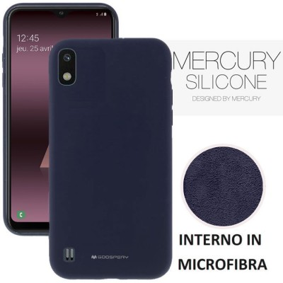 CUSTODIA per SAMSUNG GALAXY A10 (SM-A105) - IN SILICONE CON INTERNO IN MICROFIBRA COLORE BLU ALTA QUALITA' MERCURY BLISTER