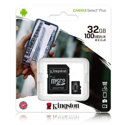 MEMORY CARD MICRO SDHC U1 A1 32GB + ADATTATORE CLASSE 10 VELOCITA' IN LETTURA FINO A 100MB/s FULL HD SDCS2/32GB KINGSTON