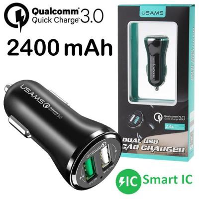 CAVO AUTO USB USAMS US-CC028 CON 2 PORTE USB 2400mAh (1 PORTA QUICK CHARGE 3.0) E SMART IC COLORE NERO BLISTER
