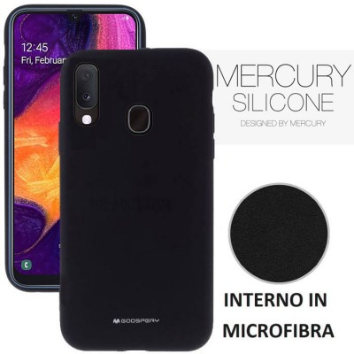 CUSTODIA per SAMSUNG GALAXY A20e (SM-A202) - IN SILICONE CON INTERNO IN MICROFIBRA COLORE NERO ALTA QUALITA' MERCURY BLISTER