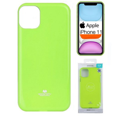 CUSTODIA per APPLE IPHONE 11 (6.1') IN GEL TPU SILICONE COLORE VERDE LUCIDO CON GLITTER ALTA QUALITA' MERCURY BLISTER