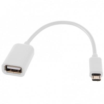ADATTATORE DA MICRO USB MASCHIO A USB FEMMINA OTG CON CAVO COLORE BIANCO