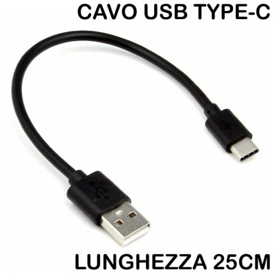 CAVO USB A TYPE-C COMPATIBILE per SAMSUNG GALAXY S20, S20 PLUS, S20 ULTRA - LUNGHEZZA 25CM COLORE NERO SEGUE COMPATIBILITA'..