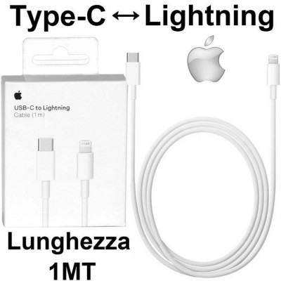 CAVO USB ORIGINALE APPLE A1703 DA LIGHTNING A TYPE-C LUNGHEZZA 1 MT COLORE BIANCO BLISTER SEGUE COMPATIBILITA'..