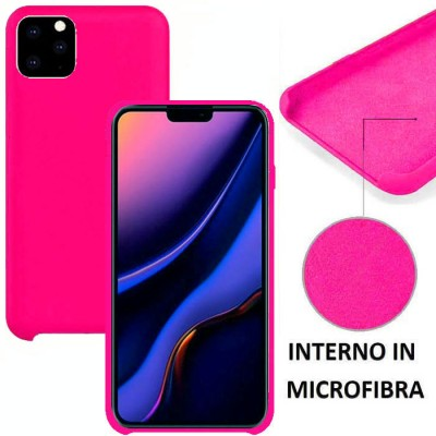 CUSTODIA per APPLE IPHONE 11 PRO MAX (6.5') IN SILICONE CON EFFETTO SOFT TOUCH ED INTERNO IN MICROFIBRA COLORE FUCSIA
