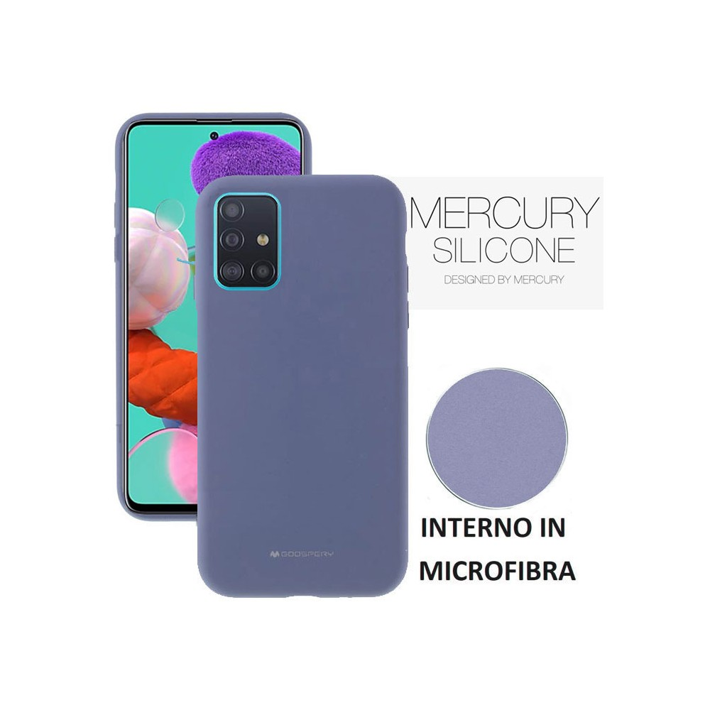 CUSTODIA per SAMSUNG GALAXY A51 (SM-A515) - IN SILICONE CON INTERNO IN MICROFIBRA COLORE LAVANDA ALTA QUALITA' MERCURY BLISTER