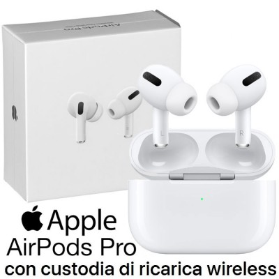 AURICOLARE AIRPODS PRO ORIGINALE APPLE MWP22ZM/A CON CUSTODIA DI RICARICA WIRELESS E CANCELLAZIONE ATTIVA DEL RUMORE BIANCO