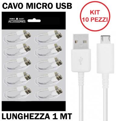 CAVO MICRO USB per SAMSUNG GALAXY A10, GALAXY A01 - LUNGHEZZA 1MT COLORE BIANCO CONFEZIONATO IN BUSTINA KIT 10 PEZZI