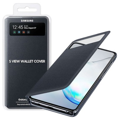CUSTODIA ORIGINALE SAMSUNG S VIEW WALLET COVER EF-EN770PBEGEU per GALAXY NOTE 10 LITE (N770), A81 CON FINESTRA ID NERO BLISTER