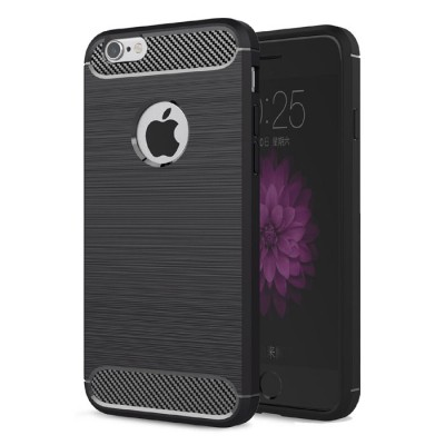 CUSTODIA per APPLE IPHONE 6 PLUS, IPHONE 6S PLUS IN GEL TPU SILICONE EFFETTO METALLICO CON INSERTI IN FANTASIA CARBONIO NERO
