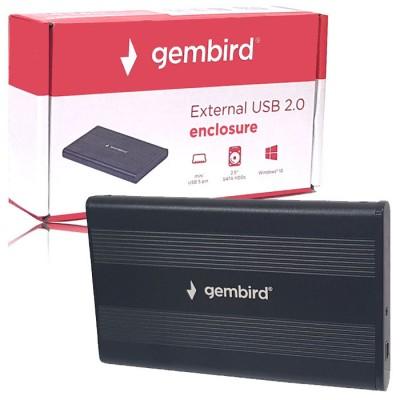 BOX ESTERNO 2.5' HDD SATA USB 2.0 EE2-U2S-5 PER HARD DISK CON CORPO IN ALLUMINIO COLORE NERO GEMBIRD BLISTER