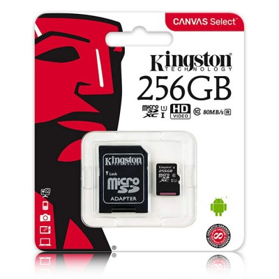MEMORY CARD MICRO SDXC UHS-1 256GB + ADATTATORE CLASSE 10 VELOCITA' IN LETTURA FINO A 80MB/s FULL HD SDCS/256GB KINGSTON