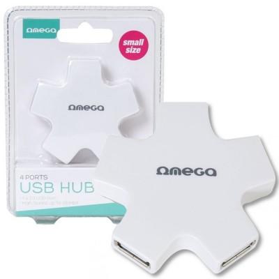 HUB 4 PORTE USB 2.0 OUH24SW OMEGA CON VELOCITA' DI TRASFERIMENTO FINO A 480Mbps COLORE BIANCO BLISTER