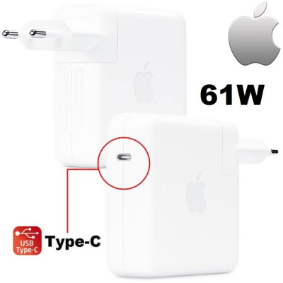 TRAVEL USB TYPE-C 61W ORIGINALE APPLE A1718 per MACBOOK AIR 13', MACBOOK AIR 12', MACBOOK PRO 15'- BIANCO MNF72Z/A BULK