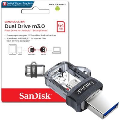 PEN DRIVE 64GB CON ATTACCO USB 3.0 A MICRO USB PER SMARTPHONE E TABLET CON TECNOLOGIA OTG SANDISK BLISTER
