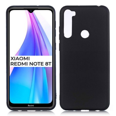 CUSTODIA per XIAOMI REDMI NOTE 8T - IN GEL TPU SILICONE SLIM COLORE NERO SATINATO