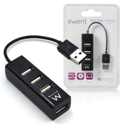 MINI HUB 4 PORTE USB 2.0 EW1123 EWENT CON VELOCITA' DI TRASFERIMENTO FINO A 480Mbps COLORE NERO BLISTER