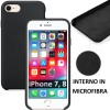 CUSTODIA per APPLE IPHONE 7, IPHONE 8 IN SILICONE CON EFFETTO SOFT TOUCH ED INTERNO IN MICROFIBRA COLORE NERO