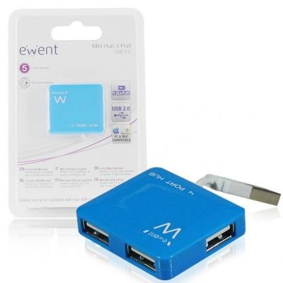 MINI HUB 4 PORTE USB 2.0 EW1126 EWENT CON VELOCITA' DI TRASFERIMENTO FINO A 480Mbps COLORE BLU BLISTER