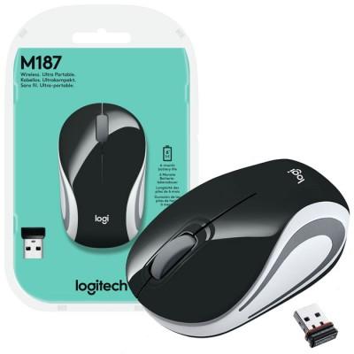MINI MOUSE OTTICO WIRELESS 2.4GHz USB 2.0 M187 LOGITECH RISOLUZIONE 1000DPI E RAGGIO DI AZIONE 10 METRI NERO E BIANCO BLISTER