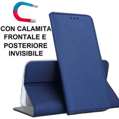 CUSTODIA per SAMSUNG GALAXY A41 (SM-A415) - FLIP ORIZZONTALE CON CHIUSURA MAGNETICA INVISIBILE ED INTERNO IN TPU COLORE BLU