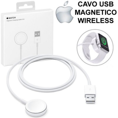 CAVO USB MAGNETICO WIRELESS ORIGINALE per APPLE WATCH (SERIE 1, 2, 3, 4, 5) LUNGHEZZA 1 MT COLORE BIANCO BLISTER