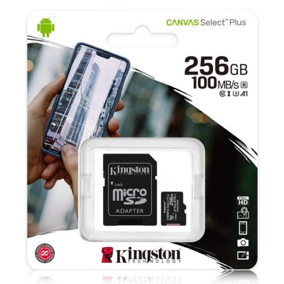 MEMORY CARD MICRO SDXC U1 A1 256GB + ADATTATORE CLASSE 10 VELOCITA' IN LETTURA FINO A 100MB/s FULL HD SDCS2/256GB KINGSTON