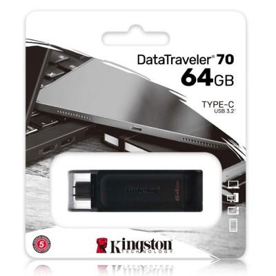 PEN DRIVE 64GB CON ATTACCO USB TYPE-C 3.2 GEN 1, CAPPUCCIO DI PROTEZIONE USB E ASOLA DI AGGANCIO COLORE NERO KINGSTON BLISTER